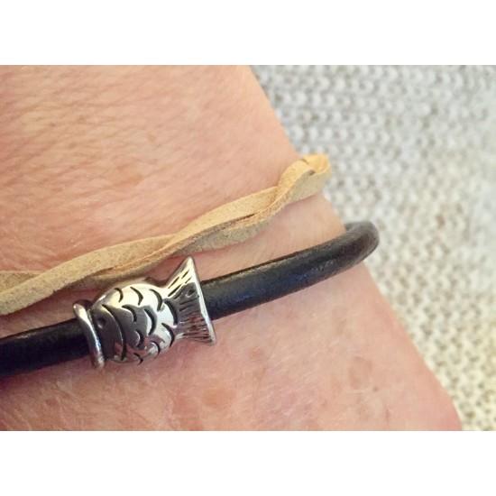 Bracelet duo cuir et Suède avec poisson en acier inoxydable