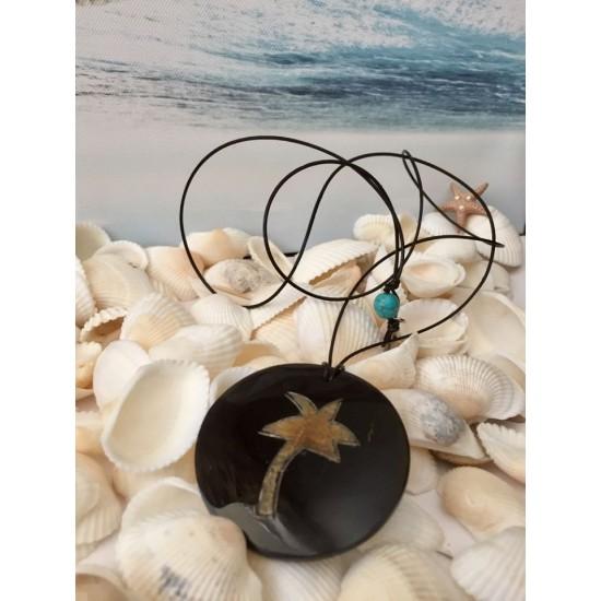 Collier long unisexe corde de cuir et pendentif palmier en corne