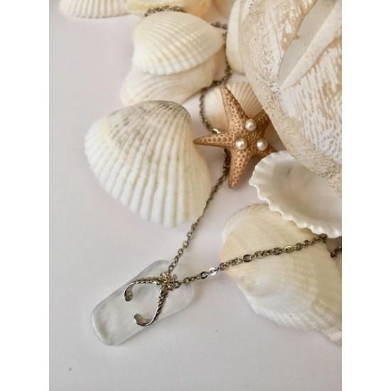 Chaine acier inoxydable avec sandale de plage en coquillage blanc transparent