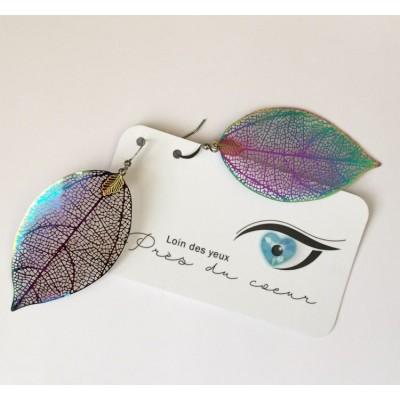 Boucles d'oreilles feuilles en acier inoxydable iridescent