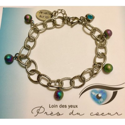 Bracelet avec boules scintillantes acier inoxydable iridescent