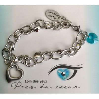Bracelet 2 chaînes entrelacées coeur inox
