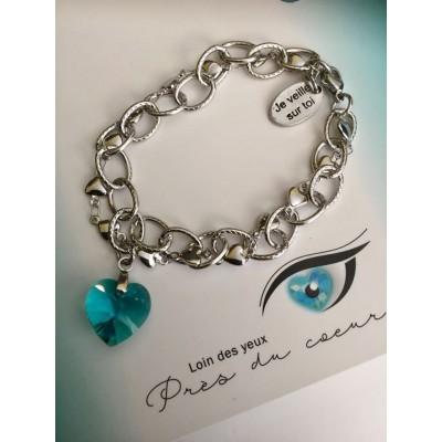 Bracelet 2 chaînes entrelacées coeur cristal