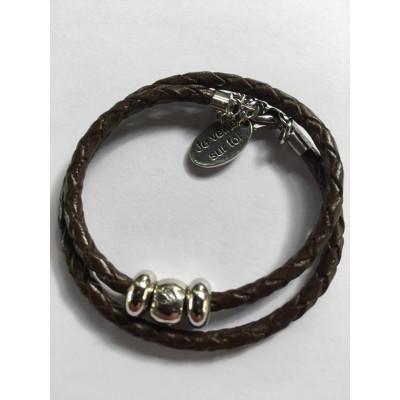 Bracelet enfant en cuir et métal (unisexe) 3 ans et +