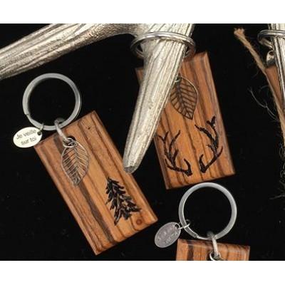 Porte-clés en bois «Je veille sur toi»
