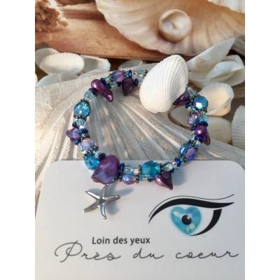 Bracelet en billes de verre et coquillage mauve et bleu turquoise