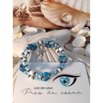Bracelet billes de verre  bleu turquoise et blanc