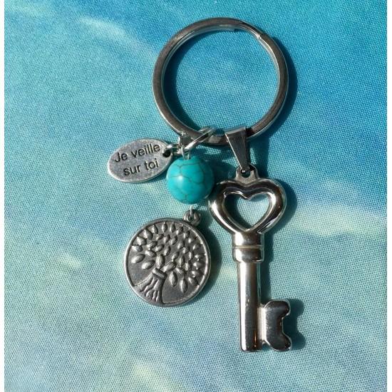 Porte-clés arbre de vie/clé