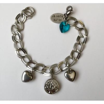 Bracelet coeurs et Arbre de vie