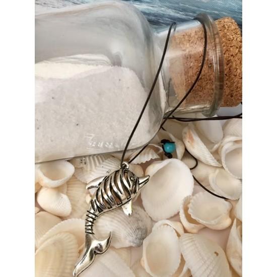 Collier long unisexe corde de cuir et poisson en métal