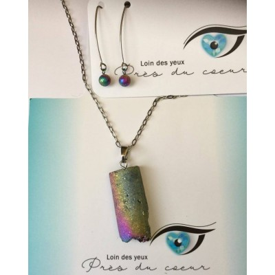 Ensemble chaine à petits maillons avec pendentif quartz iridescent et boucles d'oreilles longues ( tout en acier inoxydable)