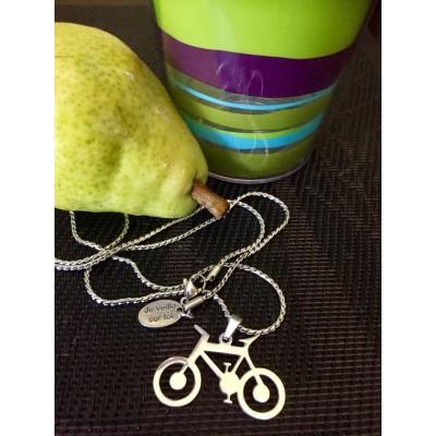 Collier homme ou mixte 30'' vélo acier inoxydable