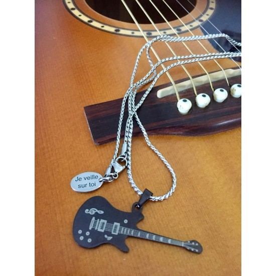 Collier homme 30'' guitare acier inoxydable noire
