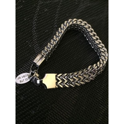 Bracelet homme acier inoxydable large