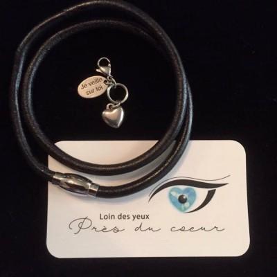 Bracelet homme double en cuir et acier inoxydable