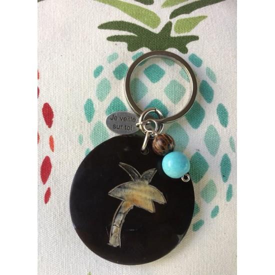Porte-clés palmier en corne