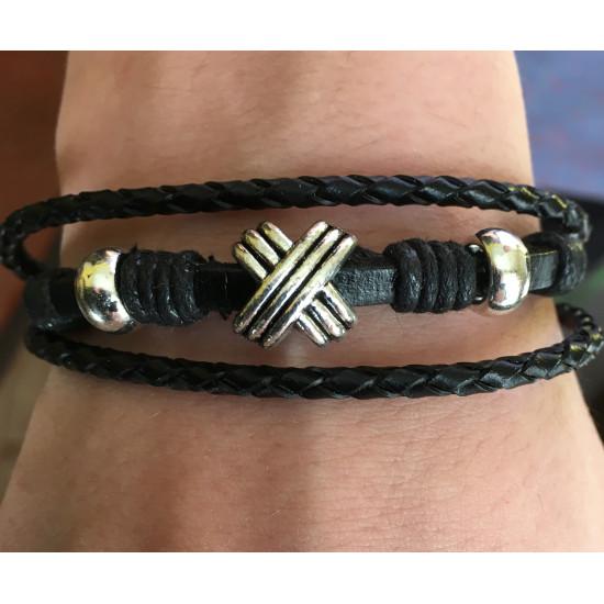 Bracelet unisexe cuir et métal